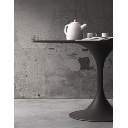 Flow circular table, melamine and steel top, steel structure, white and anthracite color