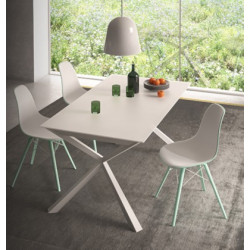 Airone 160 extendable table, made in Italy design, closed 160 cm, open 218 cm, 6-8 seats