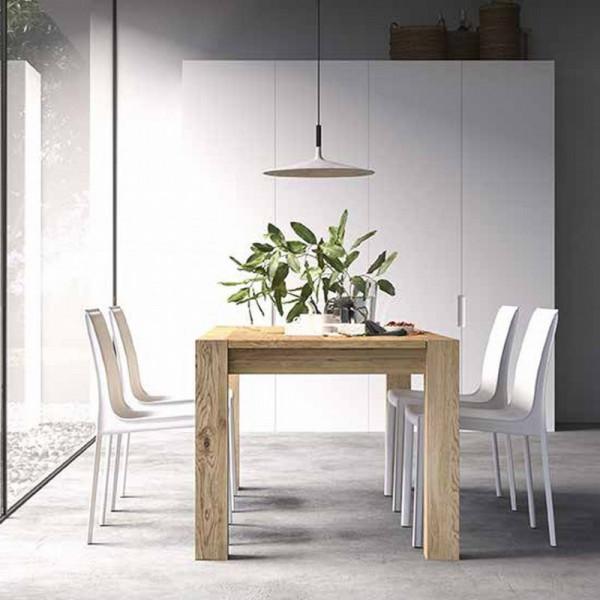 Tavolo allungabile Capri con struttura e piano in massello rovere naturale 6-8 posti