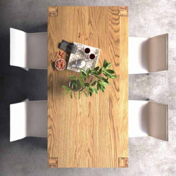 Capri extendable table with structure and top in solid natural oak 6-8 seats