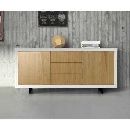 Alba sideboard with white oak laminate structure and natural oak laminate fronts with visible veins