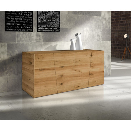 Flora sideboard in brushed knotted oak veneered wood, with four doors