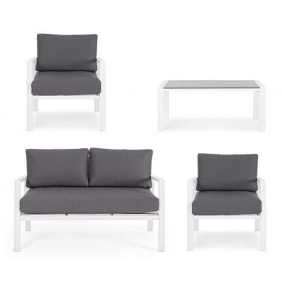 Salotto da esterno Koral YK11 4 pz. struttura in alluminio bianco, tortora e antracite cuscini in tessuto Olefin