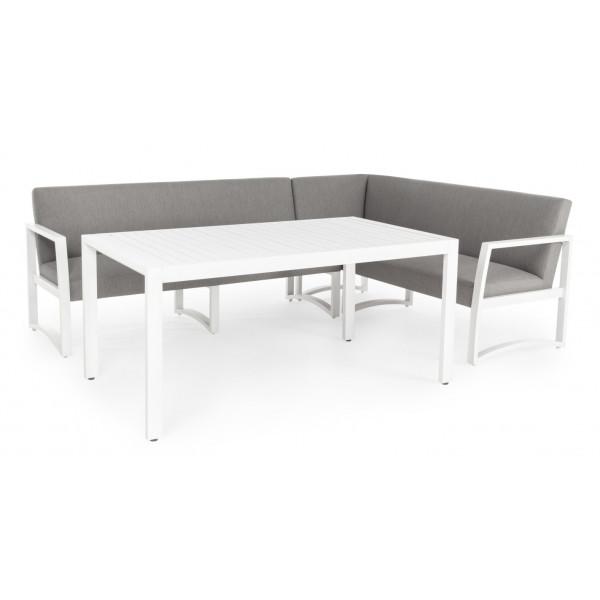 Salotto da esterno Krystelle KS01 struttura alluminio bianco, seduta e schienale in tessuto impermeabilizzato colore grigio