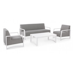 Nives KS01 outdoor lounge, white aluminum structure, waterproofed fabric
