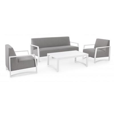 Salon d'extérieur Nives KS01, structure en aluminium blanc, tissu imperméabilisé