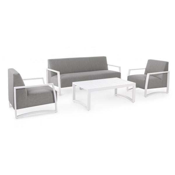 Salotto da esterno Nives KS01, struttura alluminio bianco tessuto impermeabilizzato