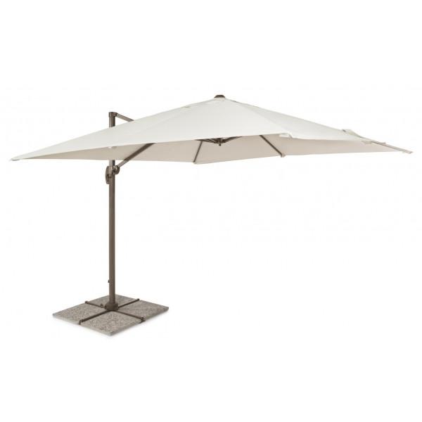 Parapluie Dallas 3x3, structure aluminium gris tourterelle, tissu coloris naturel