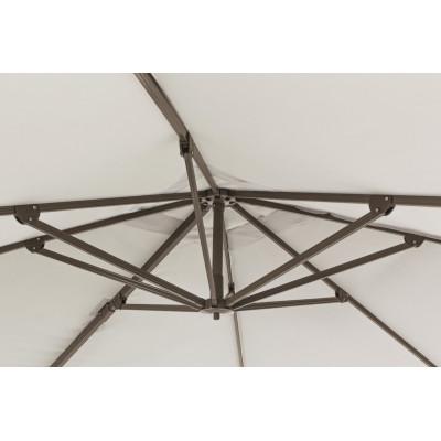 Dallas 3x3 arm umbrella, dove gray aluminum structure, natural color fabric