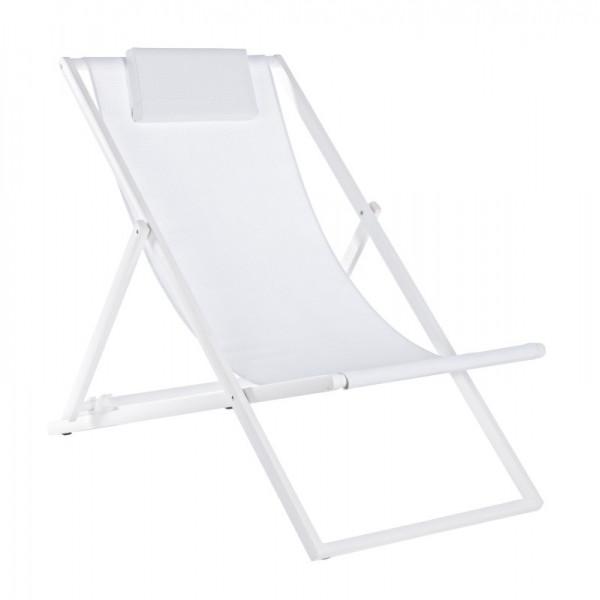 Chaise longue Taylor, structure blanche, revêtement textilène 2x1, paquet x 4 pcs.
