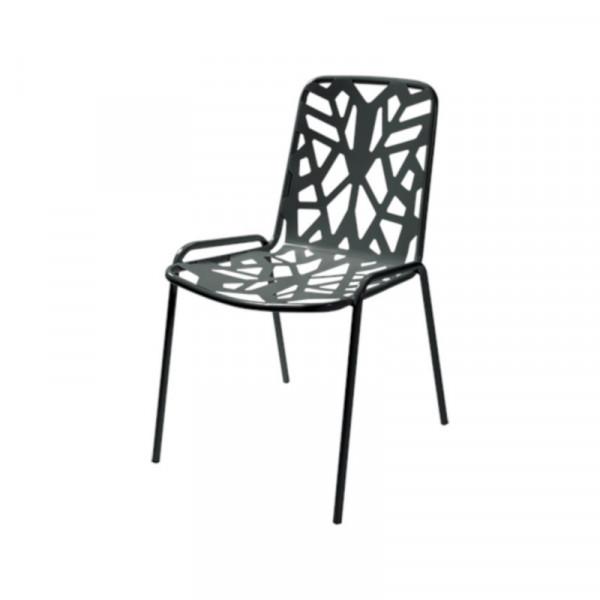 Sedia da esterno Fancy Leaf 1, struttura, seduta e schienale in acciaio pre-zincato, colore antracite