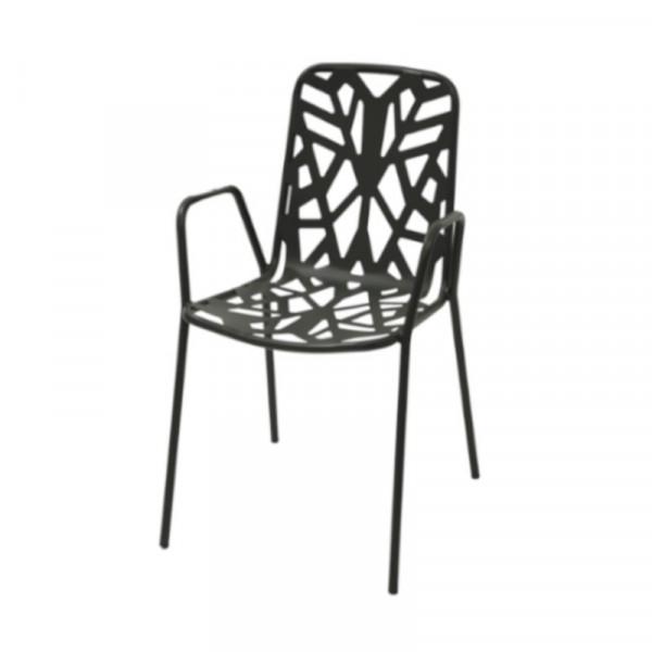 Chaise d'extérieur Fancy Leaf 2 avec accoudoirs, structure, assise et dossier en acier pré-galvanisé, couleur anthracite