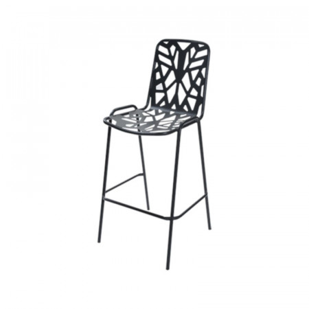 Fancy Leaf 75 outdoor stool seat and back structure in pre-galvanized steel, anthracite color