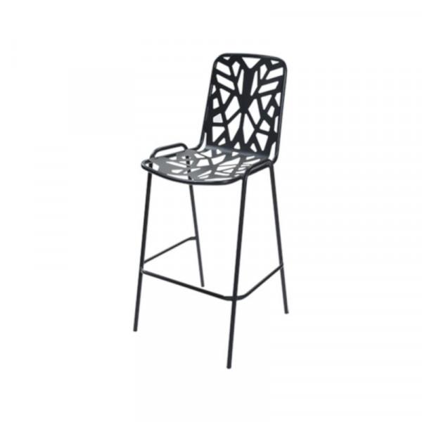 Sgabello da esterno Fancy Leaf 75 struttura seduta e scienale in acciaio pre-zincato, colore antracite