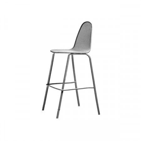 Mirabella 75 outdoor stool seat and back structure in pre-galvanized steel, anthracite color