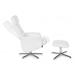 Bizzotto Recliner Armchair with White Faux Leather Footrest