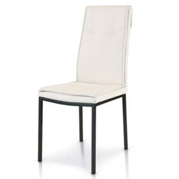 Chaise Cora rembourrée en éco-cuir, avec structure en métal, couleur blanc, gris tourterelle, chaise grise x2 pcs