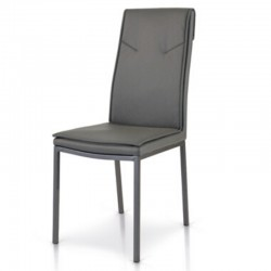 Cora chair upholstered in eco-leather, with metal frame, color white, dove gray, gray chair x2 pcs