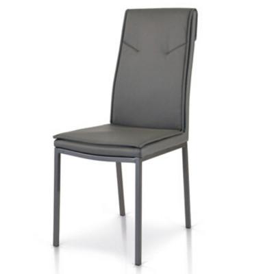 Sedia Cora imbottita in ecopelle, con struttura in metallo, colore bianco, tortora, grigio sedia x2 pz
