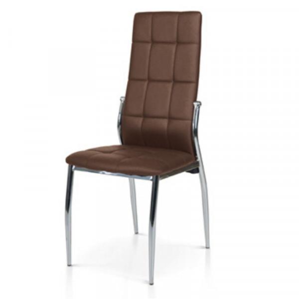 Chaise Pisa rembourrée en éco-cuir, avec structure en métal chromé, chaise x 4 pcs.
