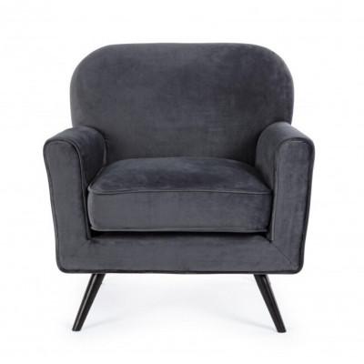 Lydia armchair in gray velvet, wooden frame, chromed steel legs