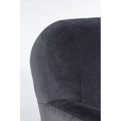 Lydia armchair in gray velvet, wooden