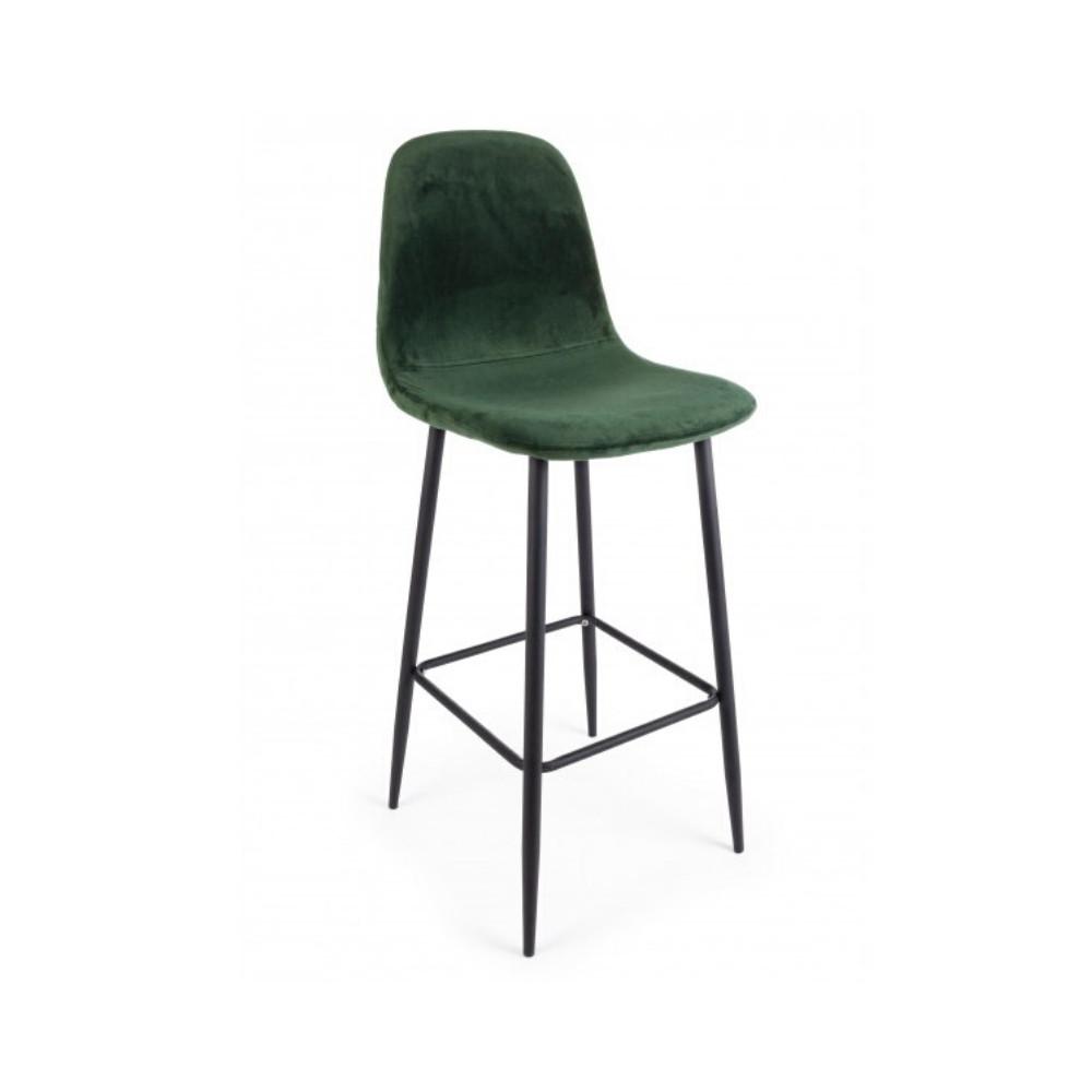 Irelia bar stool in velvet, green color