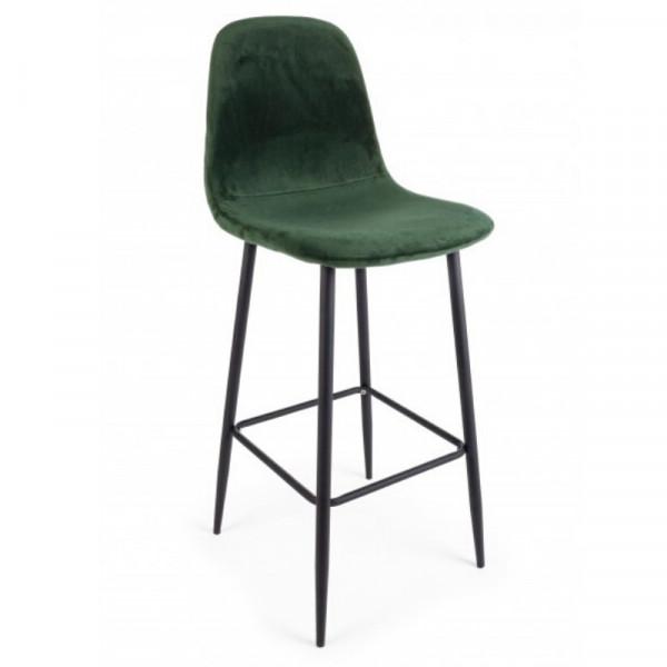 Irelia bar stool in velvet, green color and tubular steel legs, x 2 pcs.
