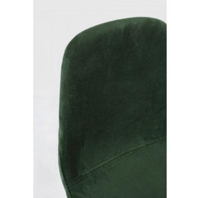 Tabouret de bar Irelia en velours vert et pieds en tube d'acier, x 2 pcs.