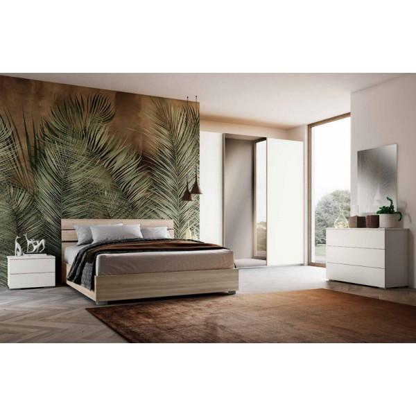 Chambre Camelia, complète avec armoire à portes coulissantes, lit avec meuble de rangement