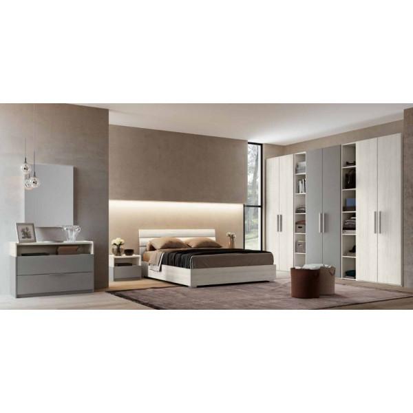 Camera da letto Gaia, completa di armadio, libreria e letto con contenitore