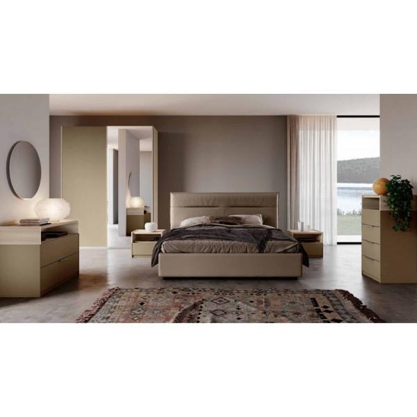 Camera da letto Tina, completa di armadio ante scorrevoli e letto contenitore