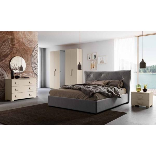 Camera da letto Ambra, completa di armadio con specchio, letto contenitore