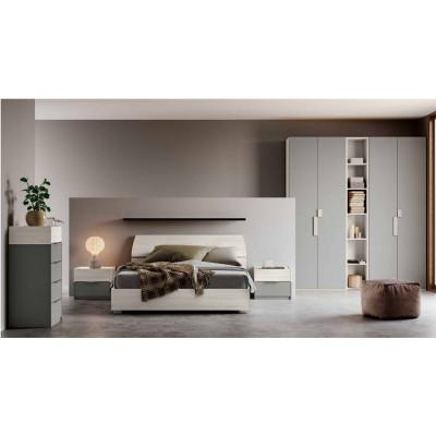 Camera Brenda, completa di armadio con libreria, letto contenitore