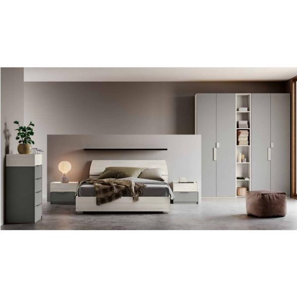 Camera da letto Brenda, completa di armadio con libreria, letto contenitore