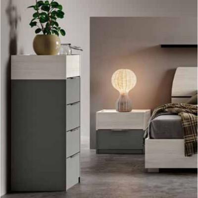 Chambre Brenda, complète avec armoire avec bibliothèque, lit conteneur