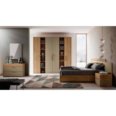 Camera da letto Greta, completa di armadio con libreria e letto con contenitore
