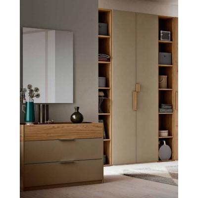 Camera completa Greta, armadio con libreria e letto con contenitore