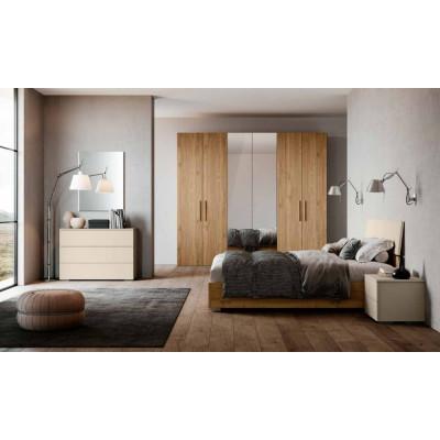 Chambre Katia, complète avec armoire avec miroir et lit avec meuble de rangement
