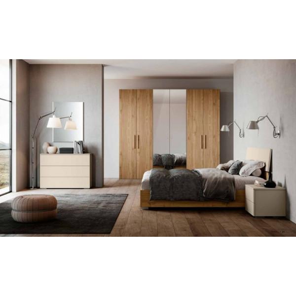 Camera da letto Katia, completa di armadio con specchio e letto con contenitore