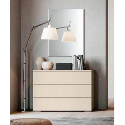 Camera da letto Katia, armadio con specchio e letto con contenitore