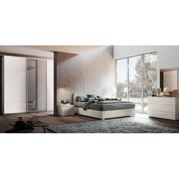 Camera da letto completa Liana, armadio con ante scorrevoli e letto con contenitore