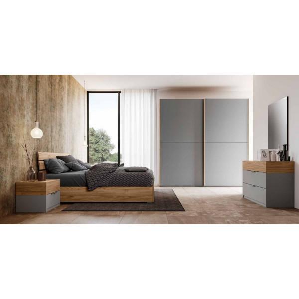 Manila room, wardrobe with sliding doors in blond walnut, silver metal