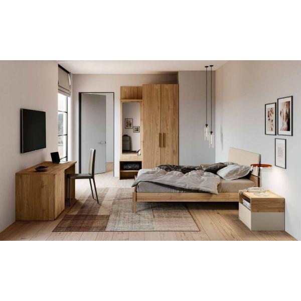 Chambre Cristel, armoire avec boiseries et bureau, noyer blond, orge