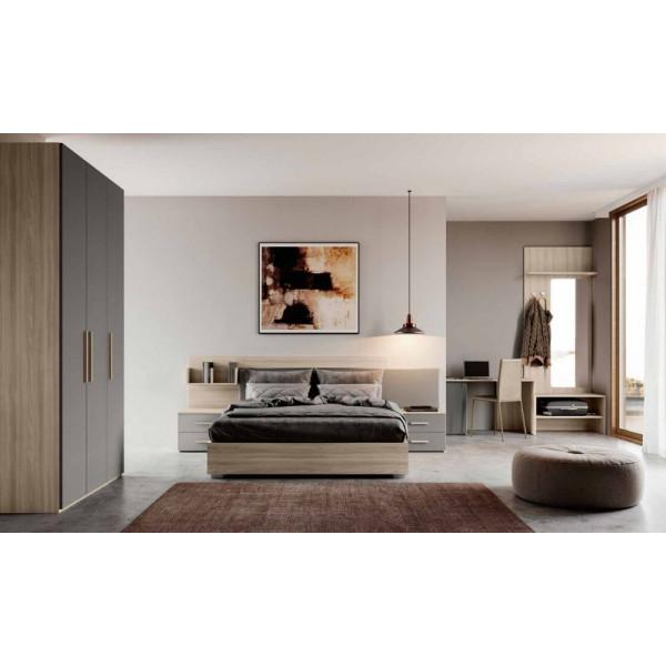 Camera da letto completa Viola, armadio e scrivania porta frigo