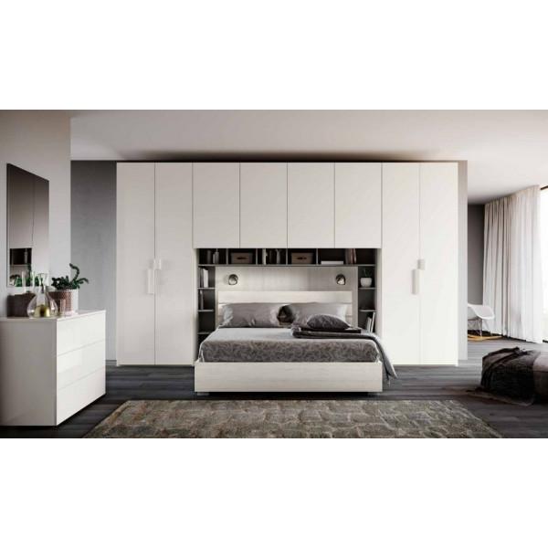 Camera Zara, armadio ponte e libreria, bianco altea, bianco lucido