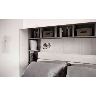 Camera da letto Zara, armadio ponte e libreria, bianco altea, bianco lucido
