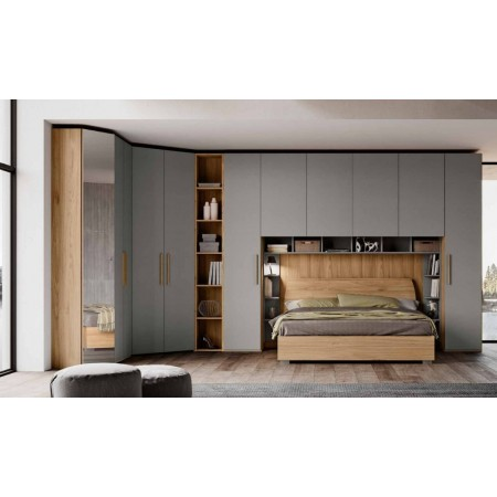 Alba room, bridge wardrobe with bookcase and bed with storage unit