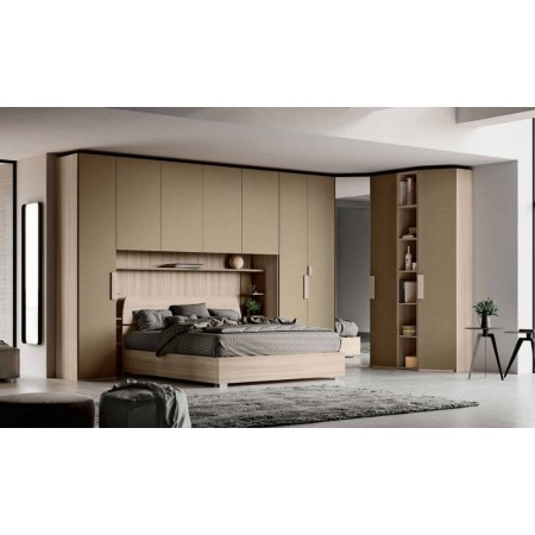 Cora bedroom, bridge wardrobe, bookcase and bed with storage unit