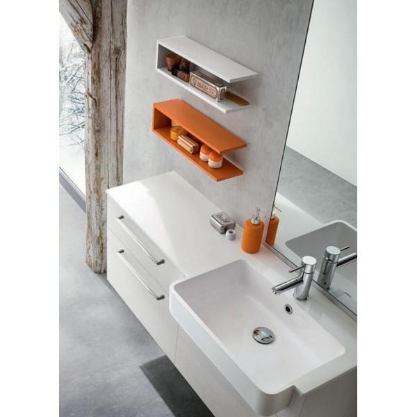 Salle de bain Alfio profondeur 35 cm, gain de place, coloris blanc, papaye
